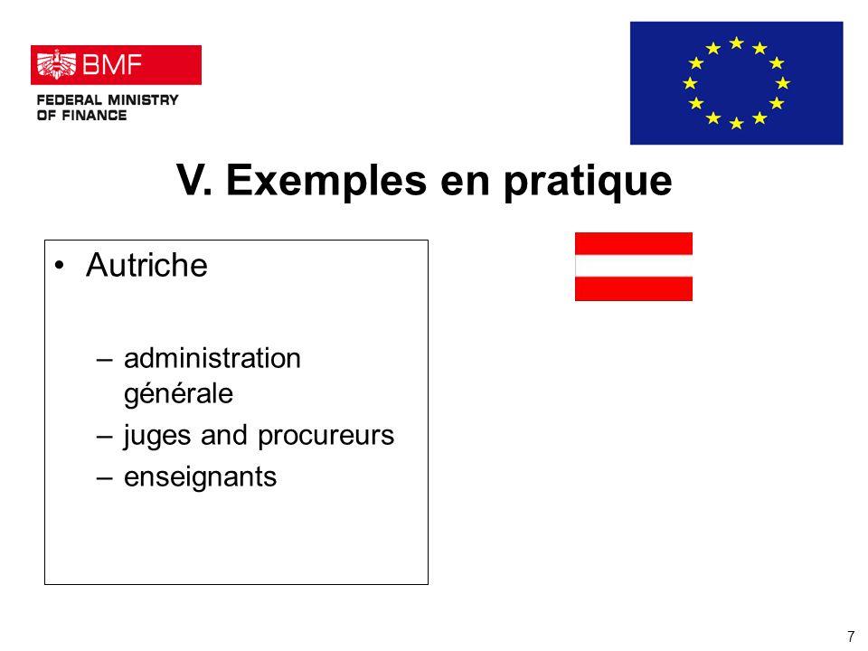 V. Exemples en pratique Autriche –administration générale –juges and procureurs –enseignants 7
