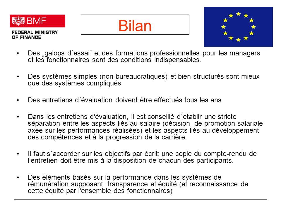 Bilan Des galops d´essai et des formations professionnelles pour les managers et les fonctionnaires sont des conditions indispensables.