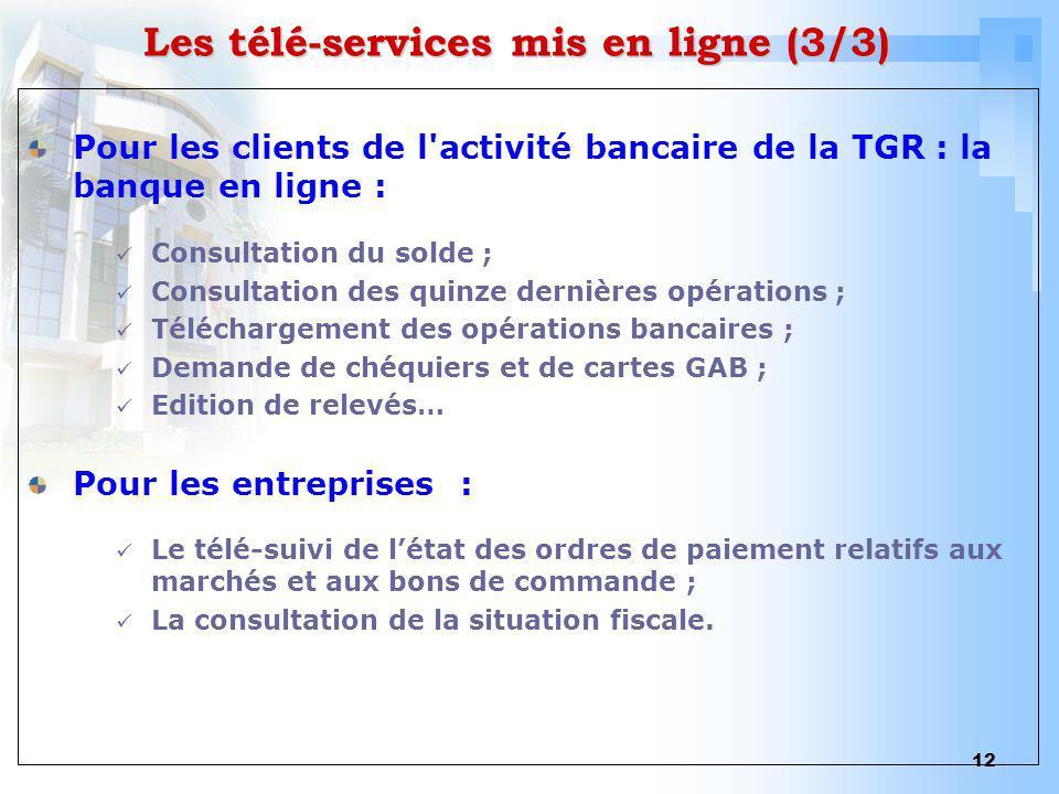 12 Les télé-services mis en ligne (3/3) Pour les clients de l'activité bancaire de la TGR : la banque en ligne : Consultation du solde ; Consultation