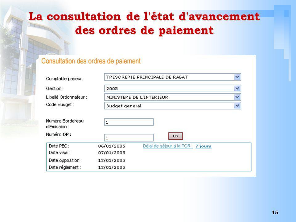 15 La consultation de l'état d'avancement des ordres de paiement