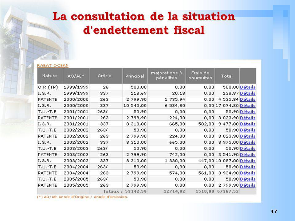 17 La consultation de la situation d'endettement fiscal