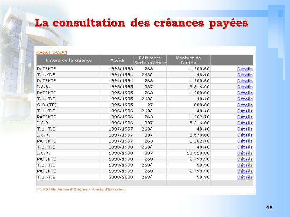 18 La consultation des créances payées