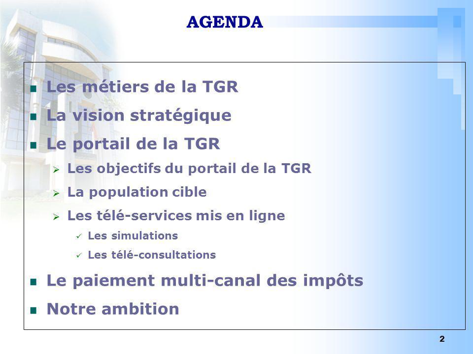 2 AGENDA Les métiers de la TGR La vision stratégique Le portail de la TGR Les objectifs du portail de la TGR La population cible Les télé-services mis
