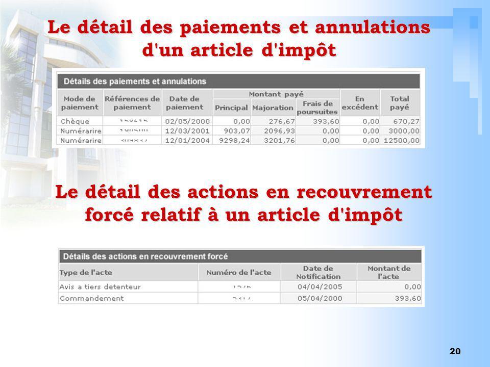 20 Le détail des paiements et annulations d'un article d'impôt Le détail des actions en recouvrement forcé relatif à un article d'impôt