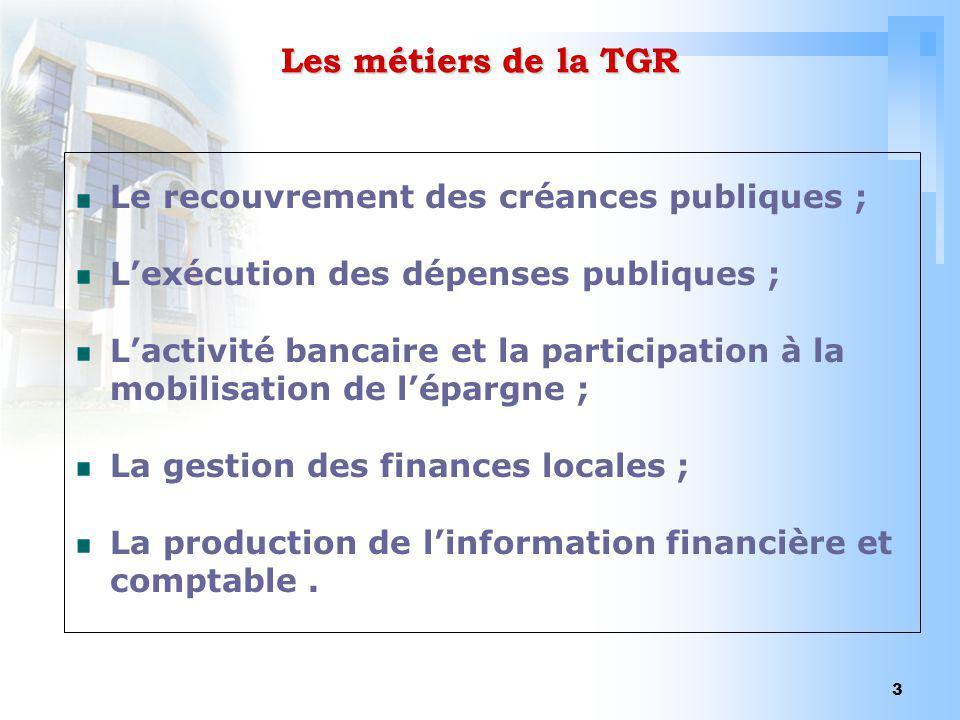 3 Les métiers de la TGR Le recouvrement des créances publiques ; Lexécution des dépenses publiques ; Lactivité bancaire et la participation à la mobil