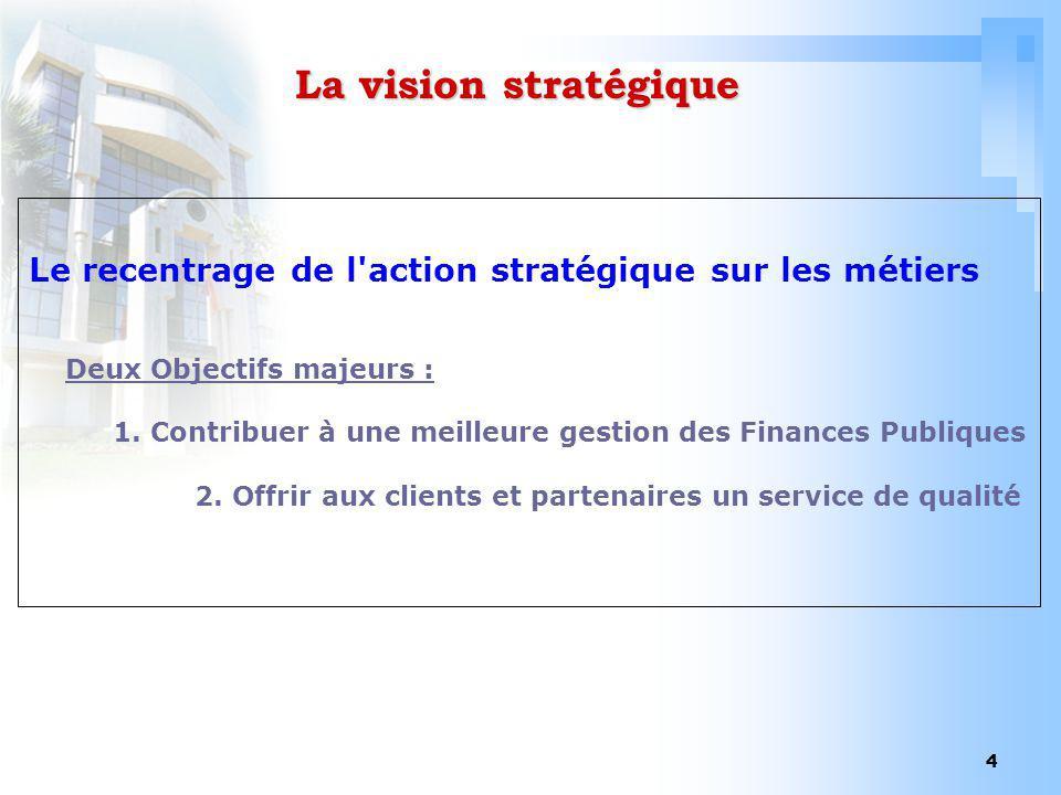 4 La vision stratégique Le recentrage de l'action stratégique sur les métiers Deux Objectifs majeurs : 1. Contribuer à une meilleure gestion des Finan