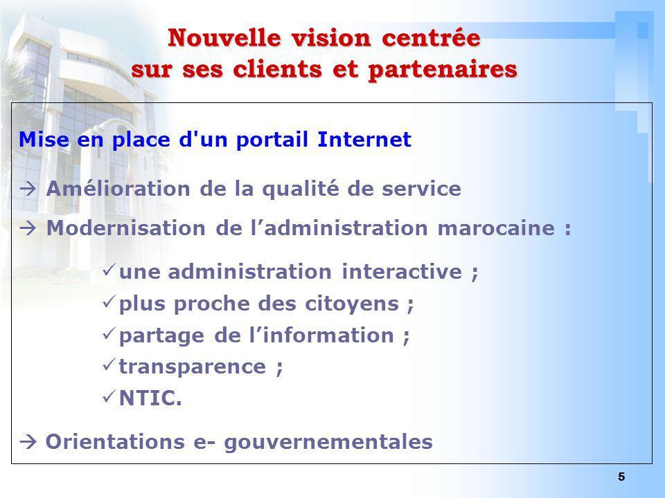 5 Nouvelle vision centrée sur ses clients et partenaires Mise en place d'un portail Internet Amélioration de la qualité de service Modernisation de la