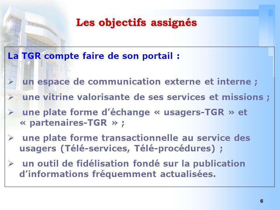 6 Les objectifs assignés La TGR compte faire de son portail : un espace de communication externe et interne ; une vitrine valorisante de ses services