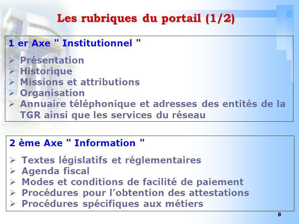 8 Les rubriques du portail (1/2) 1 er Axe