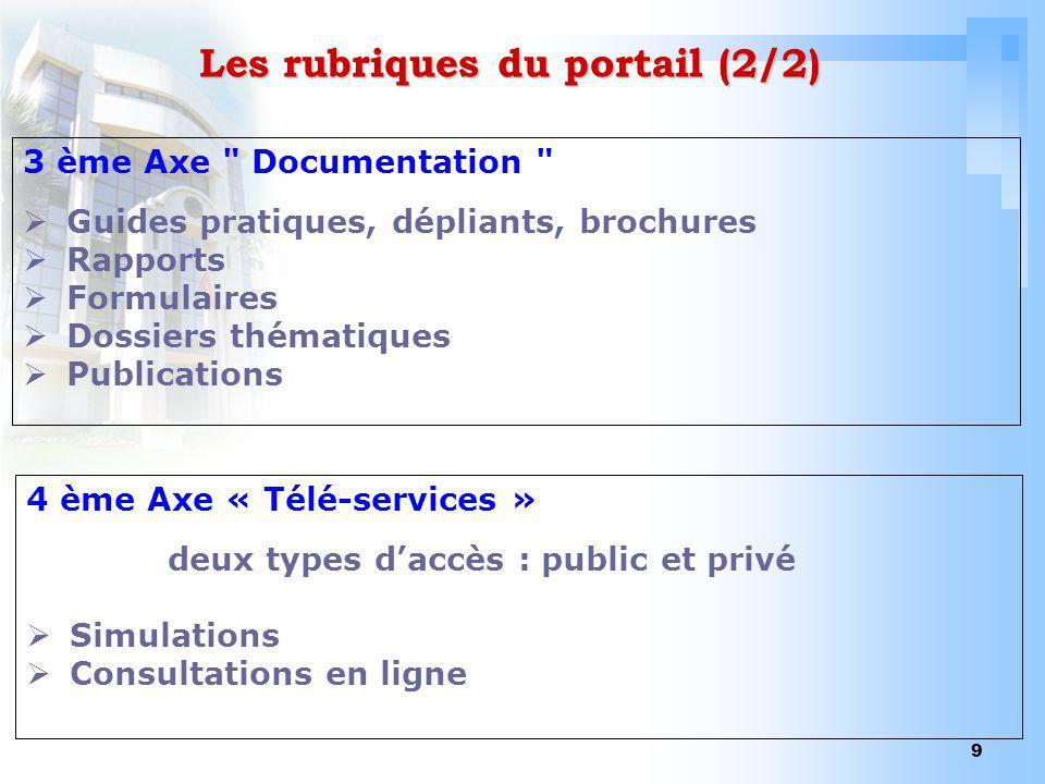 9 Les rubriques du portail (2/2) 3 ème Axe