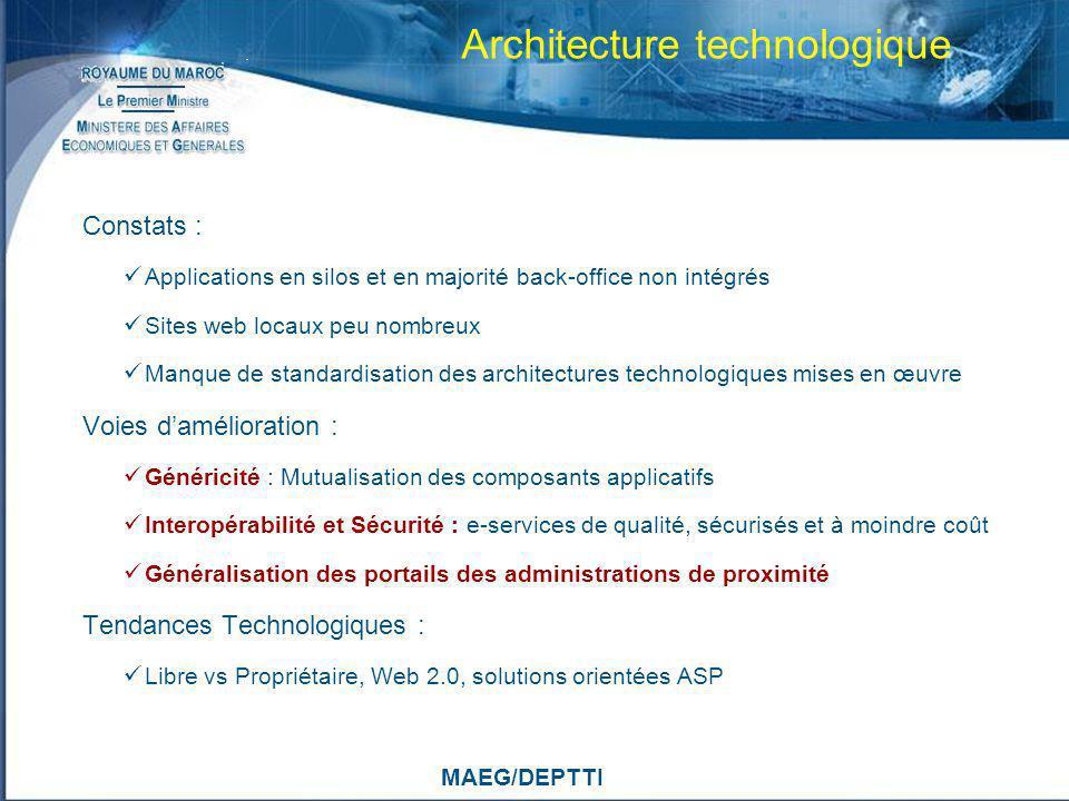 MAEG/DEPTTI Architecture technologique Constats : Applications en silos et en majorité back-office non intégrés Sites web locaux peu nombreux Manque d