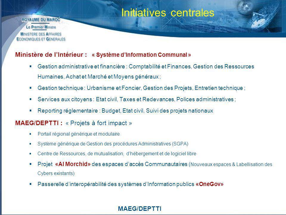 MAEG/DEPTTI Initiatives centrales Ministère de lIntérieur : « Système dInformation Communal » Gestion administrative et financière : Comptabilité et F