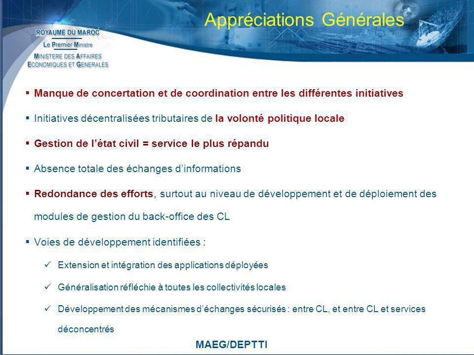 MAEG/DEPTTI Appréciations Générales Manque de concertation et de coordination entre les différentes initiatives Initiatives décentralisées tributaires