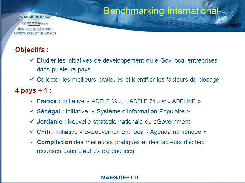 MAEG/DEPTTI Benchmarking International Objectifs : Étudier les initiatives de développement du e-Gov local entreprises dans plusieurs pays. Collecter