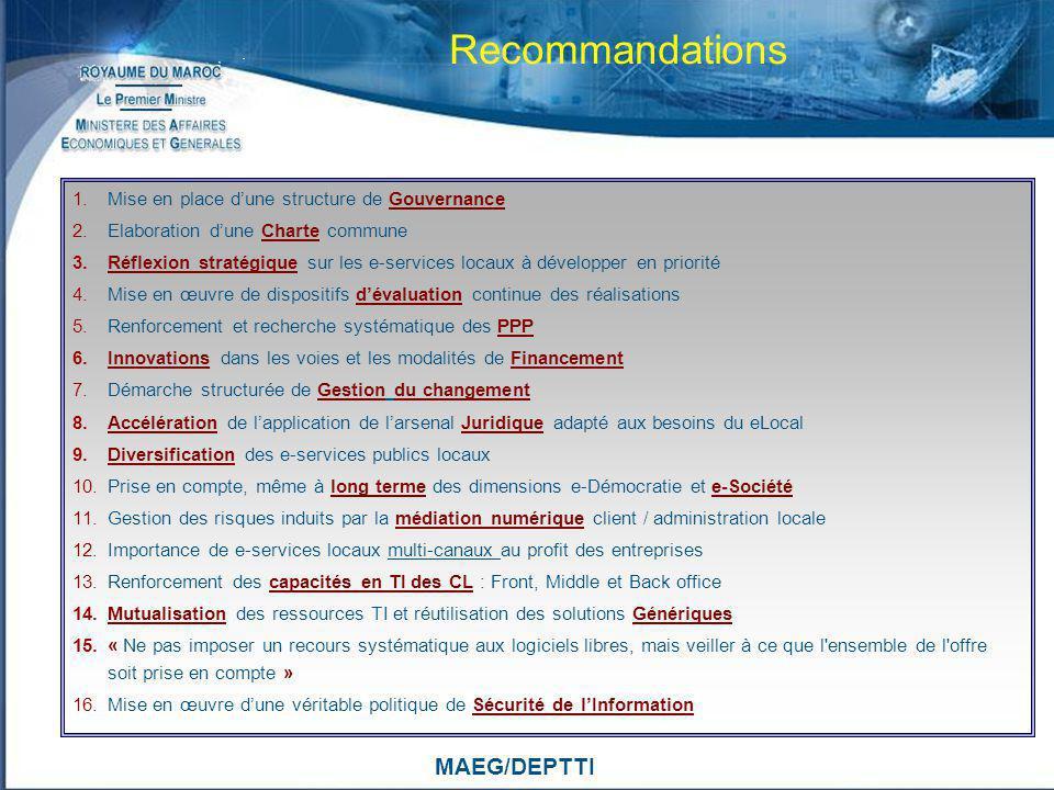 MAEG/DEPTTI Recommandations 1.Mise en place dune structure de Gouvernance 2.Elaboration dune Charte commune 3.Réflexion stratégique sur les e-services
