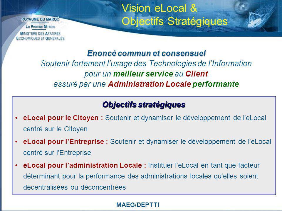 MAEG/DEPTTI Vision eLocal & Objectifs Stratégiques Enoncé commun et consensuel Soutenir fortement lusage des Technologies de lInformation pour un meil
