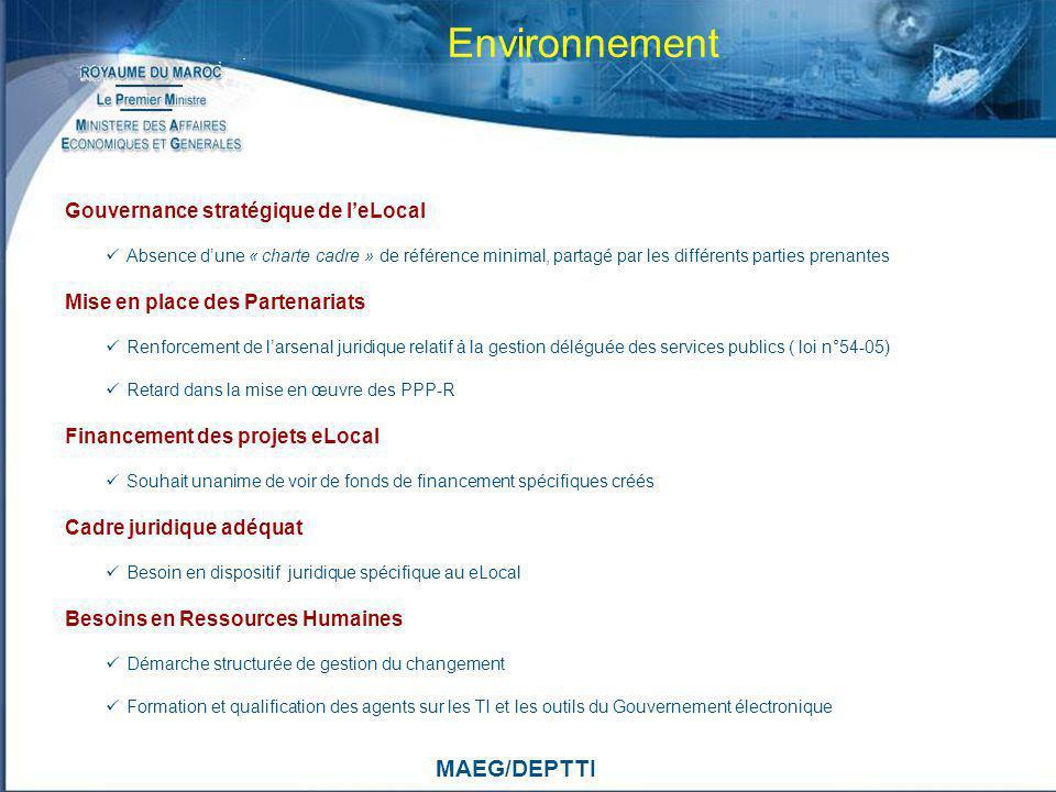 MAEG/DEPTTI Environnement Gouvernance stratégique de leLocal Absence dune « charte cadre » de référence minimal, partagé par les différents parties pr