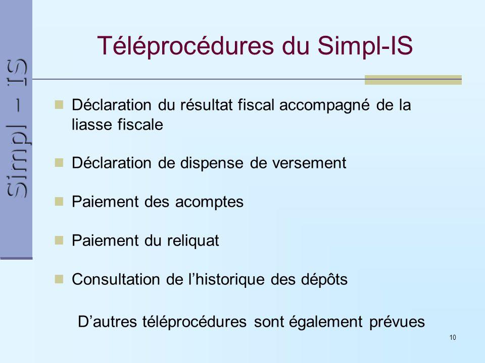 Simpl – IS 10 Téléprocédures du Simpl-IS Déclaration du résultat fiscal accompagné de la liasse fiscale Déclaration de dispense de versement Paiement