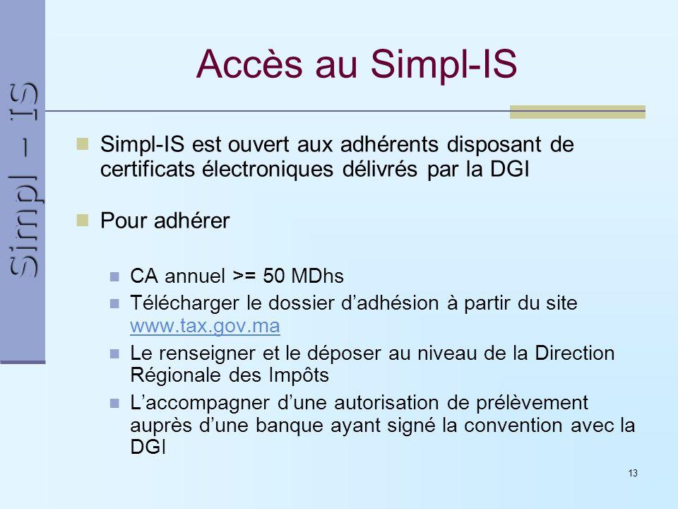 Simpl – IS 13 Accès au Simpl-IS Simpl-IS est ouvert aux adhérents disposant de certificats électroniques délivrés par la DGI Pour adhérer CA annuel >=
