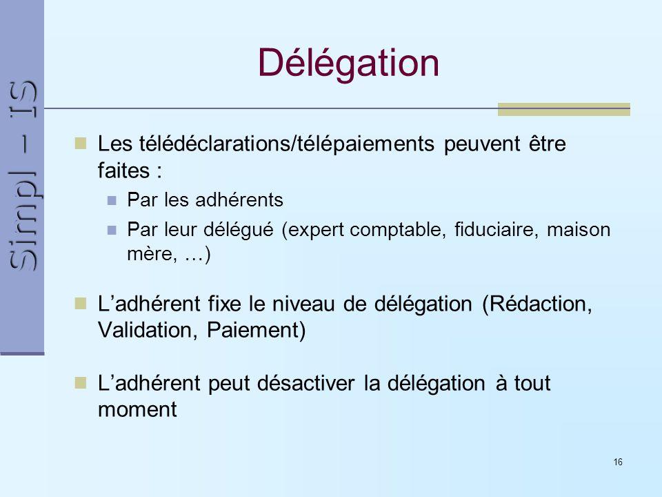 Simpl – IS 16 Délégation Les télédéclarations/télépaiements peuvent être faites : Par les adhérents Par leur délégué (expert comptable, fiduciaire, ma