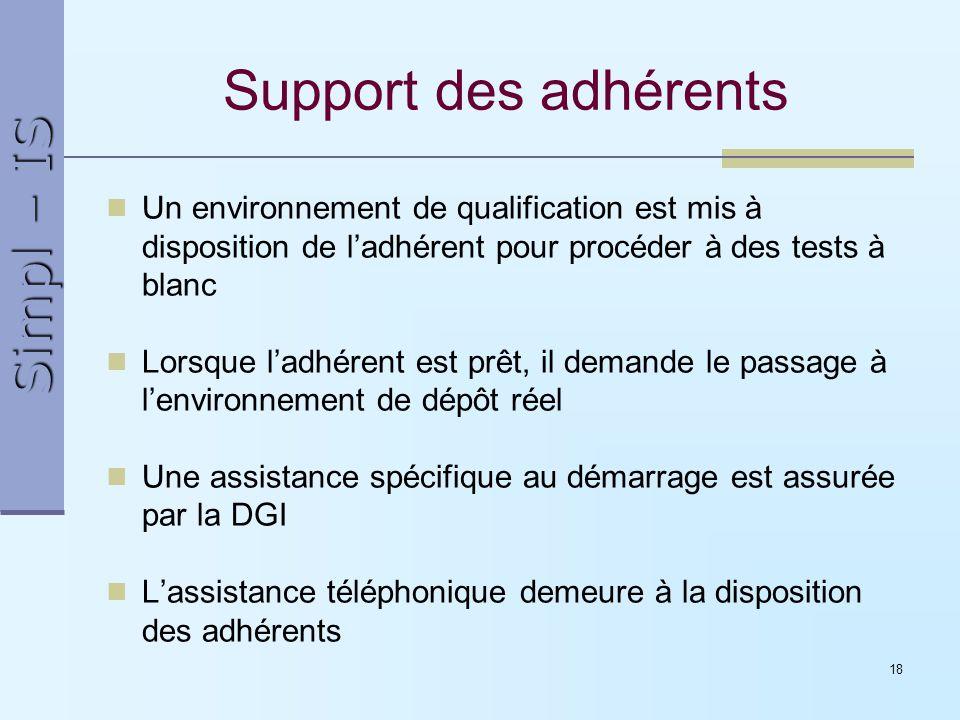 Simpl – IS 18 Support des adhérents Un environnement de qualification est mis à disposition de ladhérent pour procéder à des tests à blanc Lorsque lad