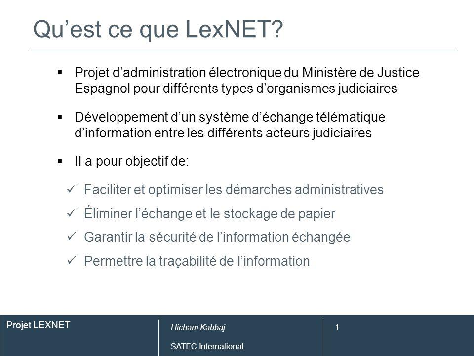 Projet LEXNET Hicham Kabbaj SATEC International 2 Caractéristiques de LexNET Reproduit et respecte procédures manuelles existantes Requiert signature électronique et certificat numérique (plusieurs autorités admises) Principaux atouts: Sécurité (certificat et cryptage) Interopérabilité (application ouverte) Extensibilité (n+1 à bas coûts) Modularité (par étape) Facilité dutilisation (interface web)