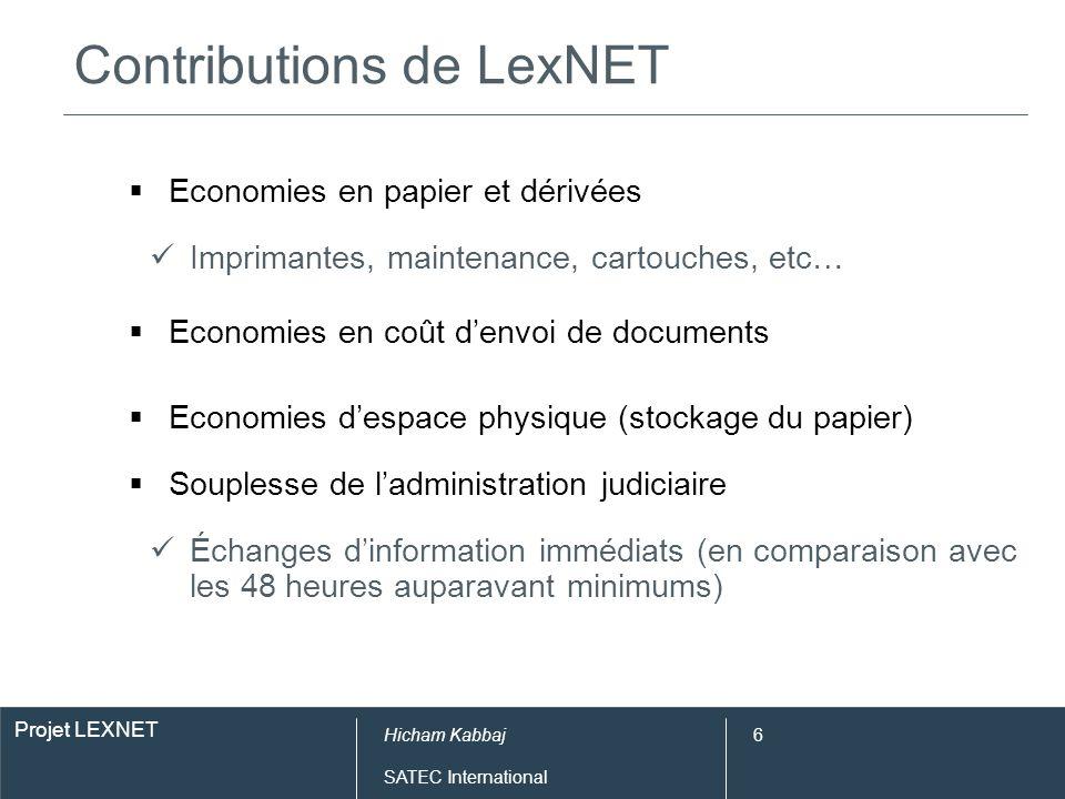Projet LEXNET Hicham Kabbaj SATEC International 6 Contributions de LexNET Economies en papier et dérivées Imprimantes, maintenance, cartouches, etc… E