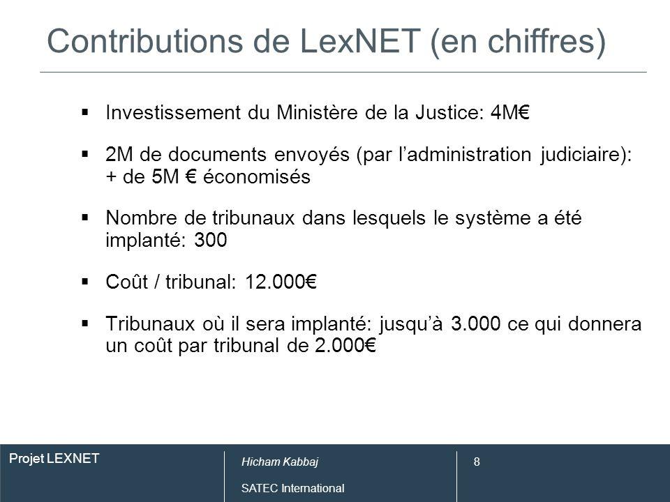 Projet LEXNET Hicham Kabbaj SATEC International 8 Contributions de LexNET (en chiffres) Investissement du Ministère de la Justice: 4M 2M de documents