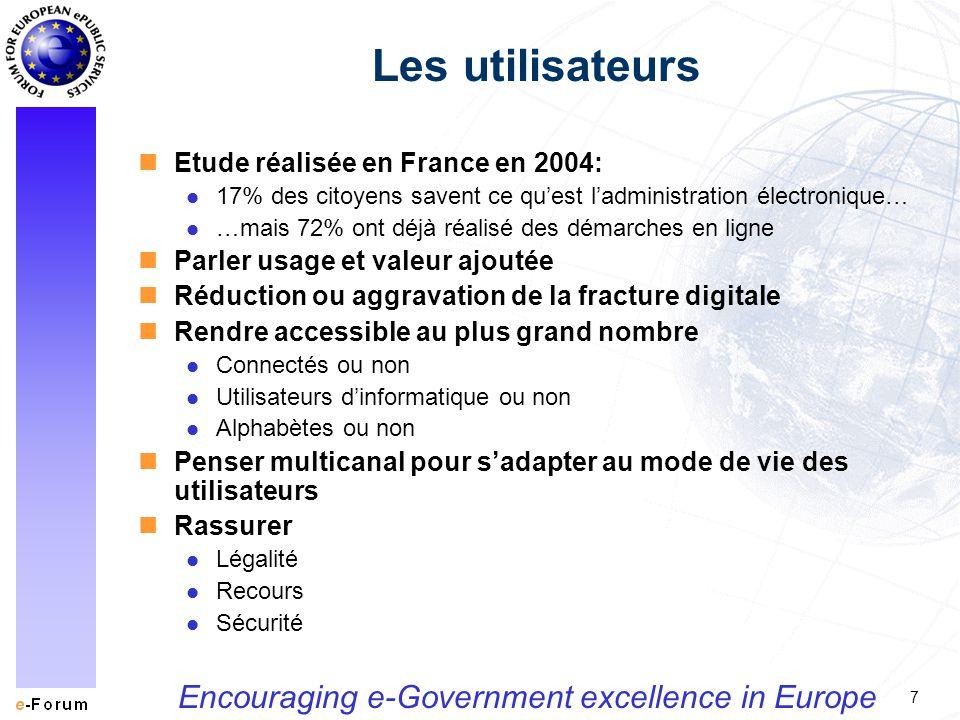7 Encouraging e-Government excellence in Europe Les utilisateurs nEtude réalisée en France en 2004: l 17% des citoyens savent ce quest ladministration