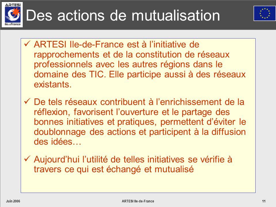 Juin 2006ARTESI Ile-de-France11 Des actions de mutualisation ARTESI Ile-de-France est à linitiative de rapprochements et de la constitution de réseaux professionnels avec les autres régions dans le domaine des TIC.