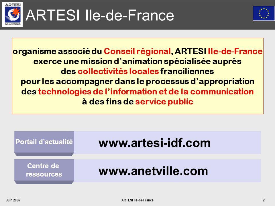 Juin 2006ARTESI Ile-de-France2 organisme associé du Conseil régional, ARTESI Ile-de-France exerce une mission danimation spécialisée auprès des collec