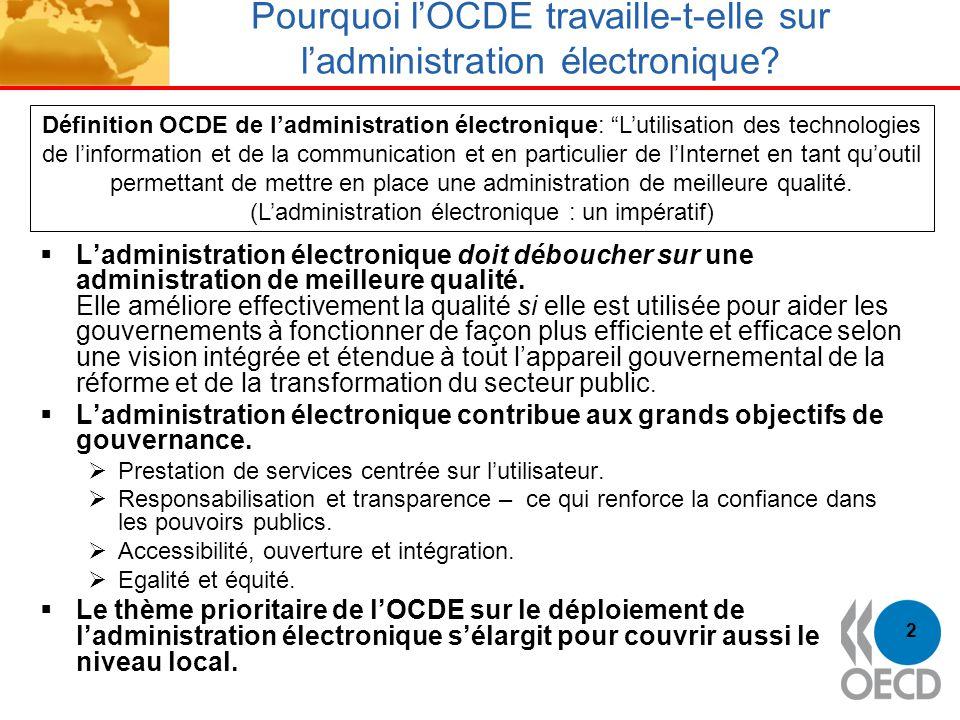 3 Thème prioritaire de lOCDE Priorité initiale: analyse de limpact de ladministration électronique au niveau central (ministères et agences) Le thème de lOCDE sur ladministration électronique sélargit désormais pour couvrir à la fois les niveaux central et local: Examens par les pairs de la politique dadministration électronique des pays de lOCDE (Belgique) PTB 2007-2008: Administration électronique: partenariats entre niveaux dadministration