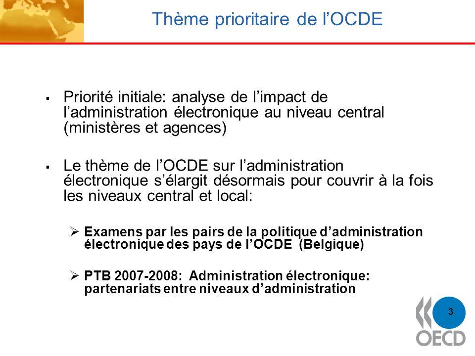 3 Thème prioritaire de lOCDE Priorité initiale: analyse de limpact de ladministration électronique au niveau central (ministères et agences) Le thème