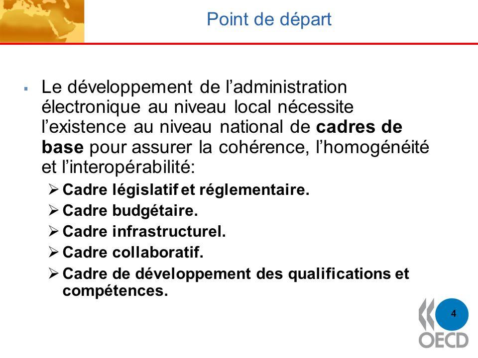 4 Point de départ Le développement de ladministration électronique au niveau local nécessite lexistence au niveau national de cadres de base pour assu