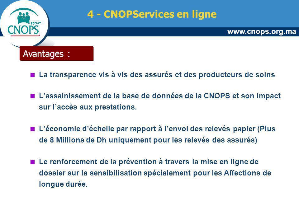 www.cnops.org.ma Avantages : La transparence vis à vis des assurés et des producteurs de soins Lassainissement de la base de données de la CNOPS et so