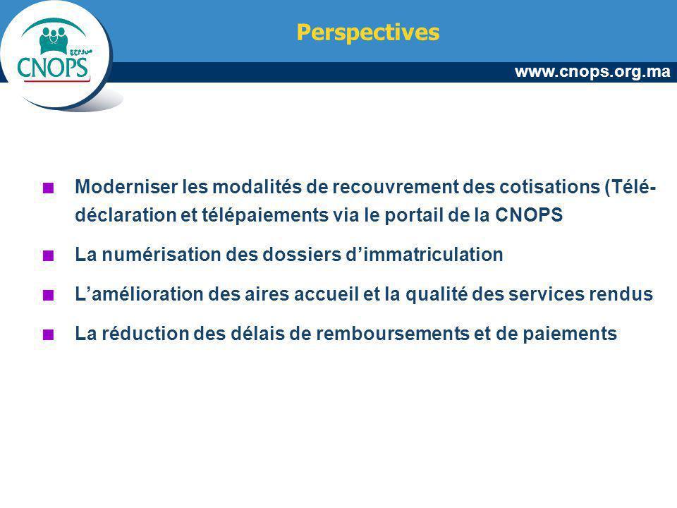 www.cnops.org.ma Perspectives Moderniser les modalités de recouvrement des cotisations (Télé- déclaration et télépaiements via le portail de la CNOPS