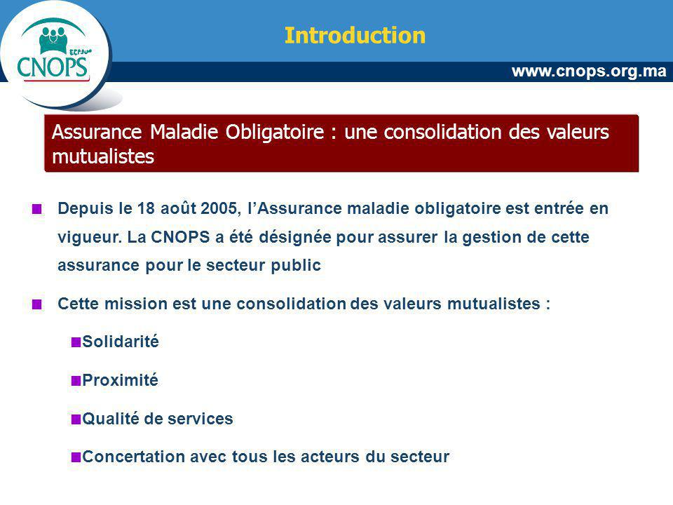 www.cnops.org.ma Assurance Maladie Obligatoire : une consolidation des valeurs mutualistes Depuis le 18 août 2005, lAssurance maladie obligatoire est