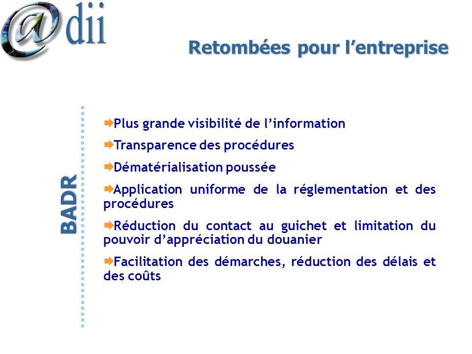 Retombées pour lentreprise Plus grande visibilité de linformation Transparence des procédures Dématérialisation poussée Application uniforme de la rég