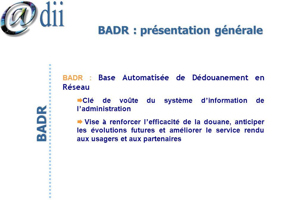 BADR : présentation générale BADR : Base Automatisée de Dédouanement en Réseau Cl é de vo û te du syst è me d information de l administration Vise à r