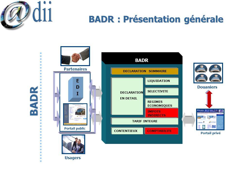 BADR : Présentation générale BADR Douaniers BADR DECLARATION SOMMAIRE LIQUIDATION SELECTIVITE REGIMES ECONOMIQUES IMPOTS INDIRECTS TARIF INTEGRE CONTE