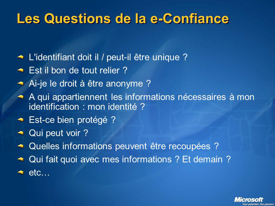 Les Questions de la e-Confiance L identifiant doit il / peut-il être unique .