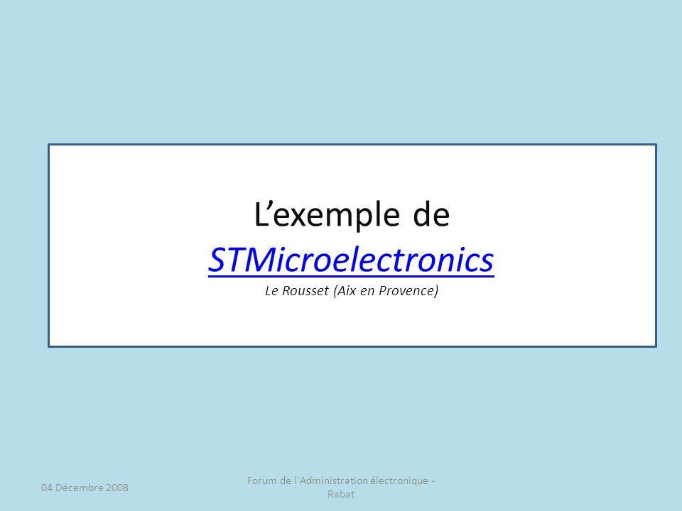 Lexemple de STMicroelectronics Le Rousset (Aix en Provence) 04 Décembre 2008 Forum de l Administration électronique - Rabat
