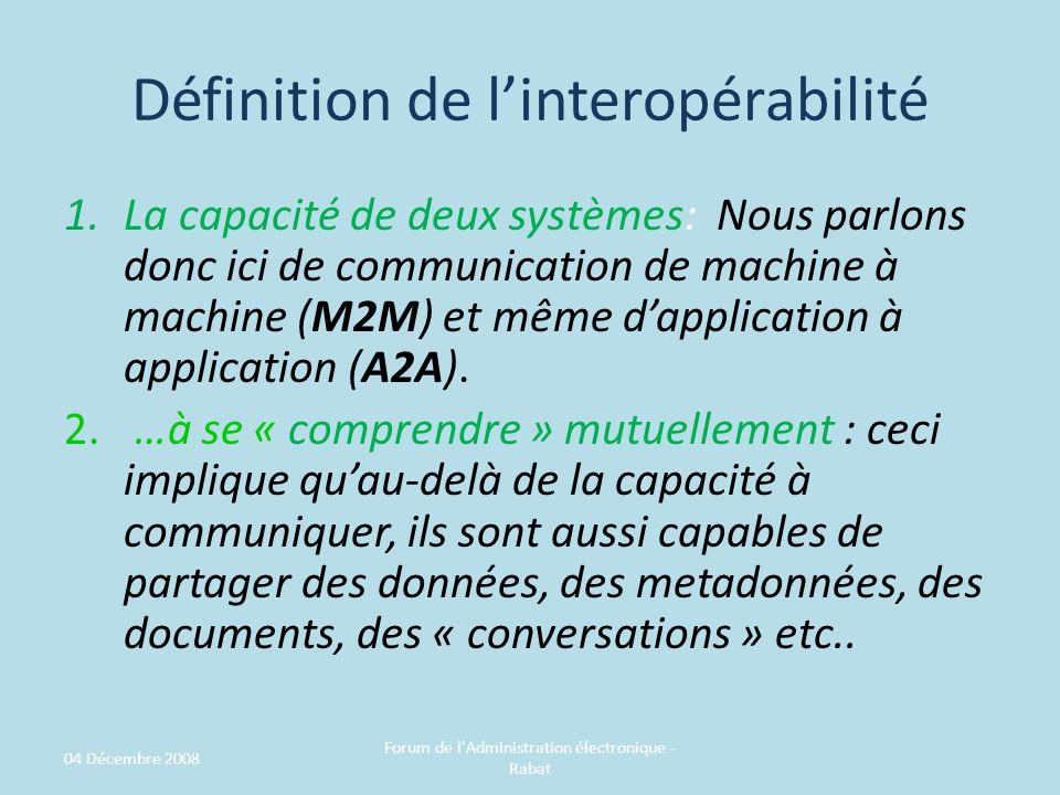 Définition de linteropérabilité 1.La capacité de deux systèmes: Nous parlons donc ici de communication de machine à machine (M2M) et même dapplication à application (A2A).
