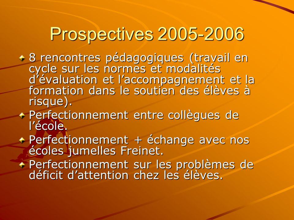 Prospectives 2005-2006 8 rencontres pédagogiques (travail en cycle sur les normes et modalités dévaluation et laccompagnement et la formation dans le soutien des élèves à risque).