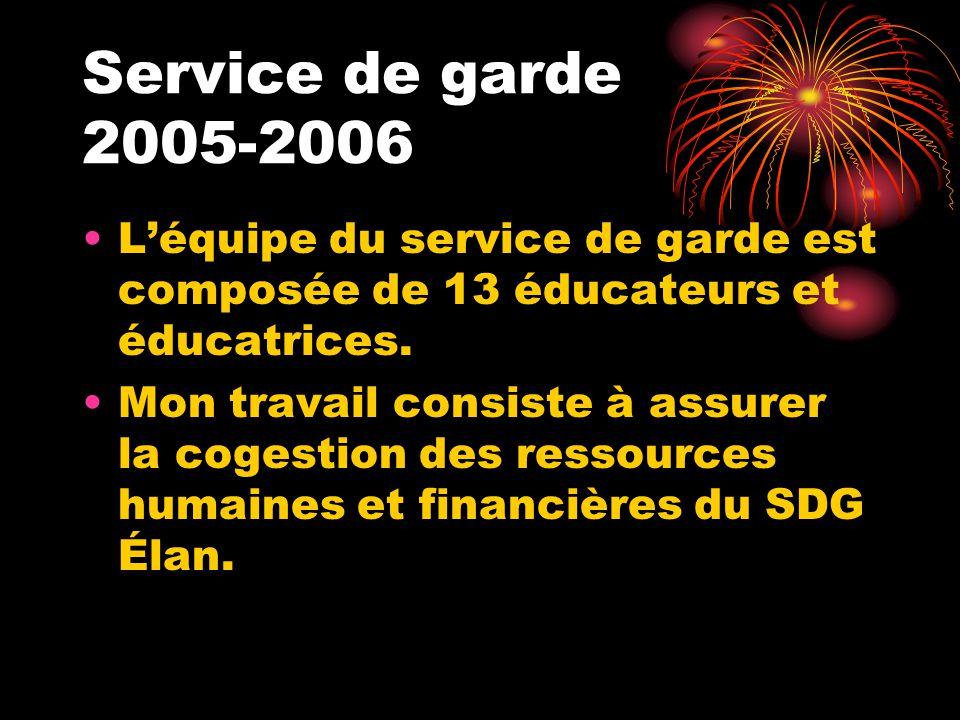Service de garde 2005-2006 Léquipe du service de garde est composée de 13 éducateurs et éducatrices.