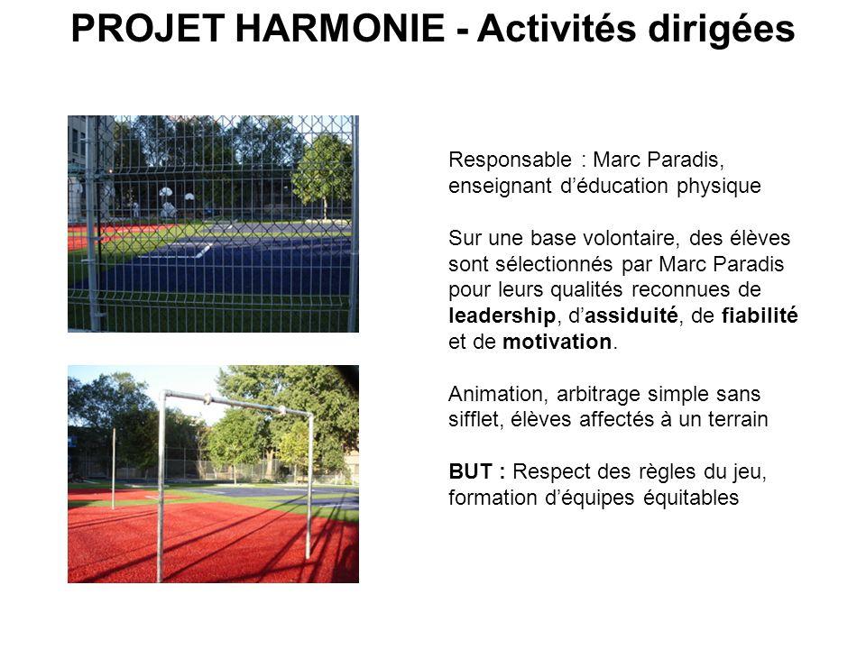 PROJET HARMONIE - Activités dirigées Responsable : Marc Paradis, enseignant déducation physique Sur une base volontaire, des élèves sont sélectionnés