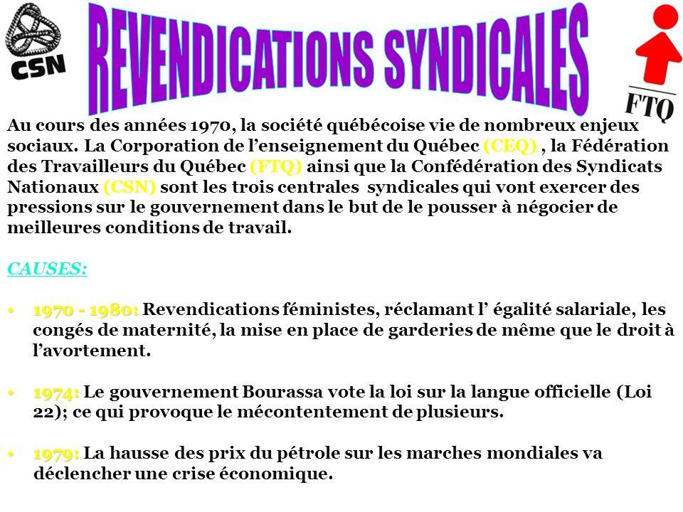 Au cours des années 1970, la société québécoise vie de nombreux enjeux sociaux.