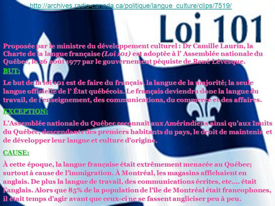 Proposée par le ministre du développement culturel : Dr Camille Laurin, la Charte de la langue française (Loi 101) est adoptée à l Assemblée nationale du Québec, le 26 août 1977 par le gouvernement péquiste de René Lévesque.