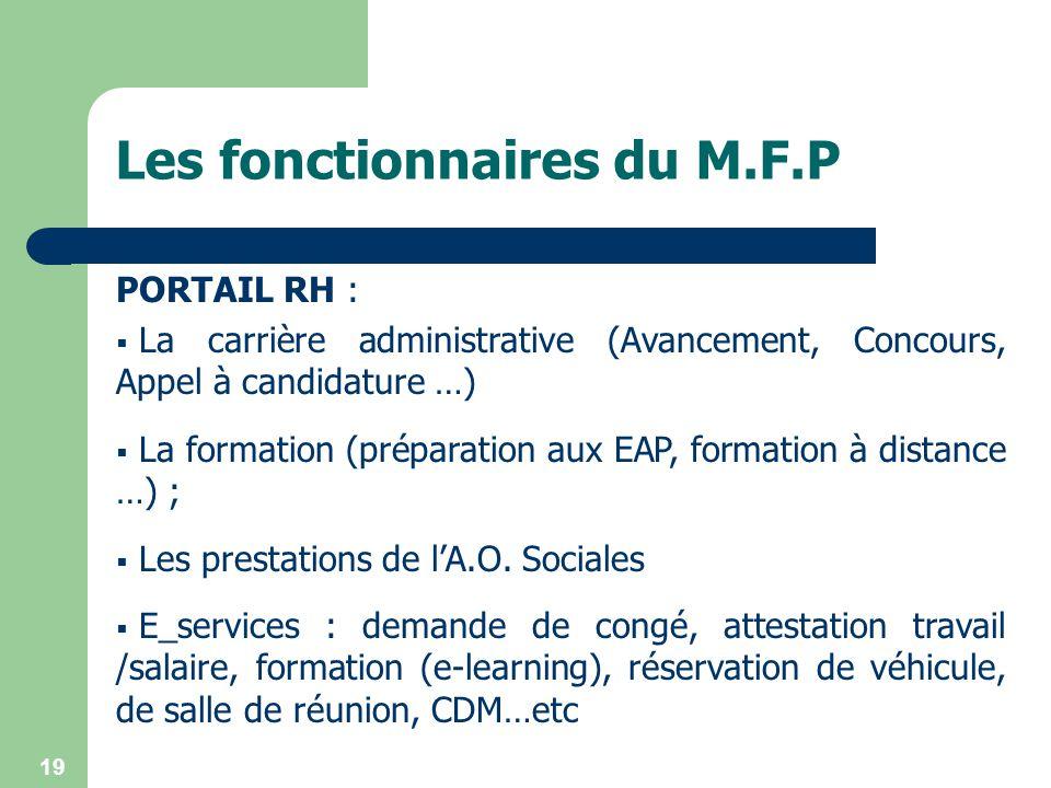 19 PORTAIL RH : La carrière administrative (Avancement, Concours, Appel à candidature …) La formation (préparation aux EAP, formation à distance …) ;