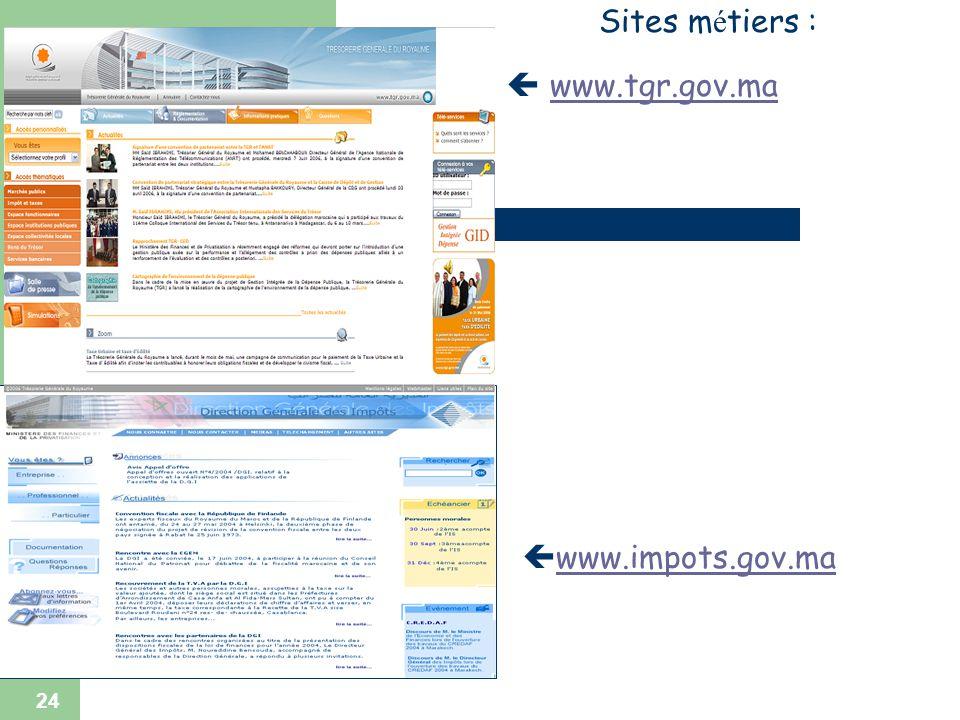 24 www.impots.gov.ma Sites m é tiers : www.tgr.gov.mawww.tgr.gov.ma